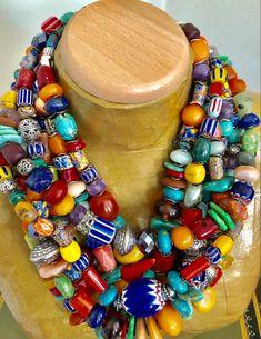 Medium Plant Mama Bib Necklace  Houseplant  Polymer Clay  Big Bold Bright  Statement Necklace  Big Happy Designs