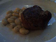 Filetto di Manzo alla Griglia with home-made truffled gnocchi and a herb cream sauce @ Restaurant Cantinetta am Ring