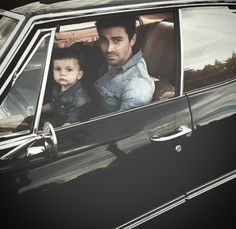 Mary took this photo of John teaching Dean (2) how to drive. When life was good for the winchesters. (Yes I know this is Matt and his son Maclin but I couldn't resist)