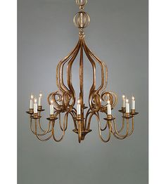 Wildwood Lamps Iron Chandelier in Old Gold Finish 1185 #lightingnewyork #lny #lighting