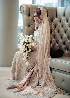 Muslim Wedding Dresses with Sleeves and Hijab - Classic ❤️ Asian Wedding Dress, Muslim Wedding Dresses, Asian Bridal, Wedding Dresses For Girls, Bridal Wedding Dresses, Bridal Outfits, Wedding Hijab, Hijab Bride, Blush Bridal