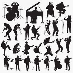Music playing silhouettes Premium Vector Music Silhouette, Silhouette Painting, Bird Silhouette, Silhouette Vector, Music Illustration, People Illustration, Architecture Concept Diagram, Music Drawings, Sketches Of People
