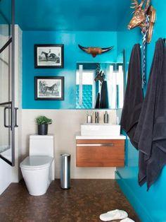 Bathroom tile 15 inspiring design peach orange and blue color schemes for the 7 best small bathroom paint colors color into your bathroom design 10 [. Painting Bathroom Walls, Small Bathroom Paint Colors, Gray Bathroom Decor, Bathroom Color Schemes, Small Space Bathroom, Bathroom Ideas, Colorful Bathroom, White Bathroom, Bathroom Organization