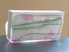 Office, Business Card Holder, Green, Pink & Transparent Fused Glass. $26.00, via Etsy.