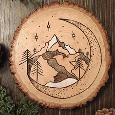 Wood burning mountain art pyrography moon stars - often thrones glass - . - Wood burning mountain art pyrography moon stars – often thrones glass – - Wood Burning Crafts, Wood Burning Patterns, Wood Burning Art, Wood Crafts, Wood Burning Projects, Paper Crafts, Mountain Art, Mountain Crafts, Folk Art