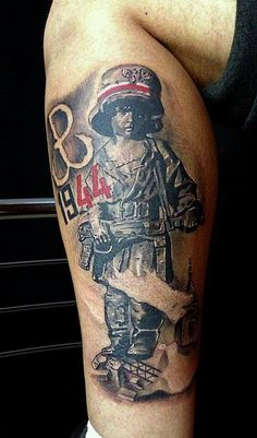 Powstanie Warszawskie Patriotische Tattoos, Army Tattoos, Sleeve Tattoos, Cool Tattoos, Tatoos, Luck Tattoo, War Tattoo, Tattoo Art