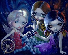 The Three Fates fairy goddess gothic fantasy by strangeling, $13.99
