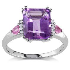 Shop for Miadora 10k Gold Amethyst, Pink Sapphire and Diamond Ring and more for everyday discount prices at Overstock.com - Your Online Jewelry Store!