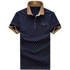 Printed Turn-down Collar Short Sleeves Polo T-Shirt For Men ❤ liked on Polyvore featuring men's fashion, men's clothing, men's shirts and men's polos