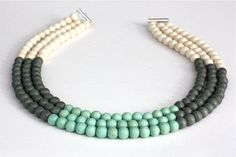 Mint Green and Grey Three Strand Color Block Necklace, Bridesmaid Necklace, Mint and Grey Wedding, Turquoise and Grey Statement Necklace via Etsy