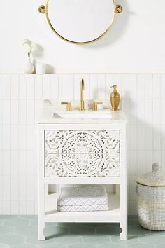 Handcarved Lombok Powder Bathroom Vanity | Anthropologie Small Bathroom Vanities, Narrow Bathroom, Single Bathroom Vanity, Bathroom Ideas, Single Vanities, Bathroom Shelves, Bathroom Cabinets, Bathroom Designs, Bathroom Organization
