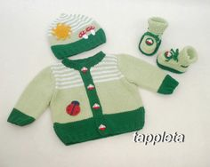 green Outfit for baby boy 3-6 Months knitted jacket by tappleta