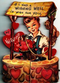 Vintage Valentine Card Little Boy Wishing Well Honeycomb Decoration