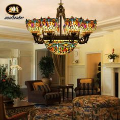 Vintage-Tiffany-Style-Stained-Glass-Retro-BIG-Chandelier-8-dragonfly-shade