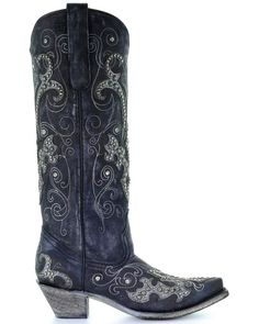 Corral Women's Tall Studded Overlay & Crystals Cowgirl Boots - Snip Toe, Black