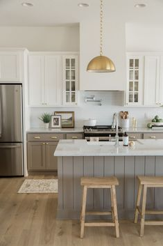 Gold Kitchen Pendants with Taupe Cabinets Condo Kitchen, Home Decor Kitchen, Kitchen Style, Gold Kitchen, Home Kitchens, Kitchen Design, Taupe Kitchen Cabinets, Kitchen Remodel, Kitchen Renovation
