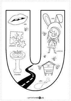 Kolorowanka U - Printoteka.pl Abc Centers, Kids Education, Montessori, Worksheets, Origami, Alphabet, Teaching, School, Therapy