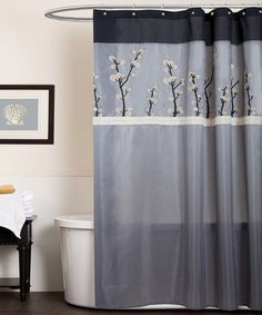 Take a look at this Gray & Black Cocoa Flower Shower Curtain by Lush Décor on #zulily today!