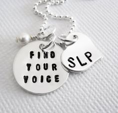 Speech Therapist Necklace - SLP Appreciation - Sterling Silver Personalized - Patricia Ann Jewelry Designs A great way to show your