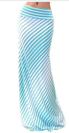 Mint Stripe Maxi Skirt