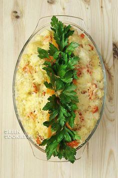 zapiekanka z kalafiorem i makaronem Hummus, Camembert Cheese, Risotto, Mashed Potatoes, Grains, Food And Drink, Ethnic Recipes, Homemade Hummus, Whipped Potatoes