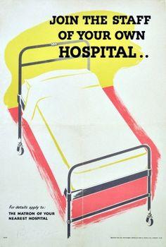 Join Your Hospital, 1940s - original vintage poster listed on AntikBar.co.uk