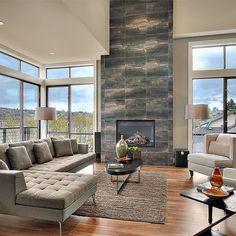 sofa, wall tiles around fireplace