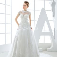Raglan Sleeve Fall Appliques Illusion Hall Royal Train Tulle White Lace Up Ball Gown Elegant Dress for Bride - OACHY The Boutique #train, #dress, #elegant, #hall, #tulle