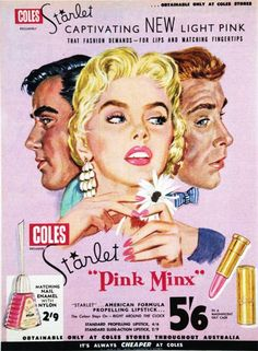 Starlet Pink Minx lipstick & nail polish advert from the 50s | Vintage Pink Illustration 1950s advertising