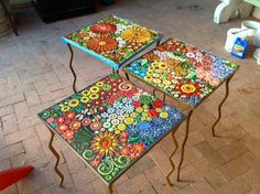 Example of STTW's flower garden mosaic tables completed by Carrie