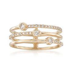 Ross-Simons - .38 ct. t.w. Diamond Three-Row Ring in 14kt Yellow Gold - #872156