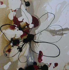 Black Daisy I 600mm x 600mm Mixed Media Artist Natasha Barnes Sold