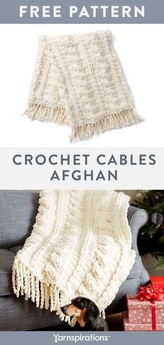 Free Crochet Blanket Pattern | Crochet this cozy chenille-style afghan for your home in Bernat Blanket yarn. #yarnspirations #bernatblanket #crochethomedecorprojects #freecrochetpatterns #crochet #homedecor #holidaygifts Crochet Cable, Baby Afghan Crochet, Free Crochet, Crochet Blankets, Baby Afghans, Easy Crochet, Free Knitting, Crochet Ideas, Crochet Projects