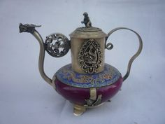collection Old Qing Dynasty silver&Jade teapotflagon,Free shipping
