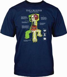 T-Shirt Creeper Anatomy Shirt (XS) #TShirt #Minecraft