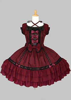 Wine Red Cotton Black Trim Sweet Lolita Dress