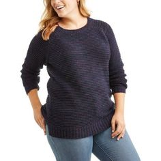 Faded Glory Women's Plus Crew Sweater, Multicolor