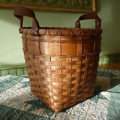 Wooden Bottom Waste Basket by JoannasCollections on Etsy