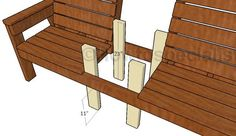 This step by step woodworking project is about large outdoor double chair bench plans. This wood project is ideal for your backyard, if you want to have both a comfy chair and a very useful table. Outdoor Furniture Design, Lawn Furniture, Backyard Furniture, Furniture Ideas, Adirondack Furniture, Furniture Storage, Plastic Patio Chairs, Porch Chairs, Side Chairs