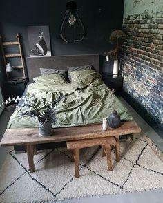 Men's Bedroom Design, Home Decor Bedroom, Modern Bedroom, Interior Design Living Room, Master Bedroom, Girls Bedroom, Bedroom Ideas, Bedrooms, Green Duvet Covers