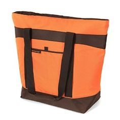 Premium Jumbo Orange Colour Easy Clean Thermal Shopping Tote Bag and a 4 Piece Reusable Ice Packs Combo