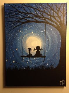 I wish I may   9 x 12 acrylic on canvas   by Michael Prosper Girl and dog on swing painting