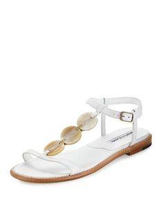 40c0546cc0fcd Fonga Circle Leather Flat Thong Sandal