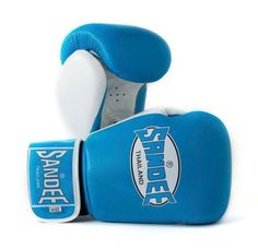 Sandee Fluro Authentic Velcro Leather Boxing Gloves - Blue & White