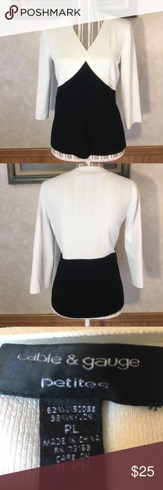 Cable & Gauge v neck top Thick knit black and white v neck top. Cable & Gauge Tops Blouses