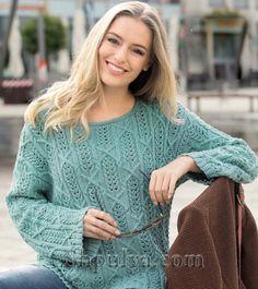 Ажурный пуловер мятного цвета