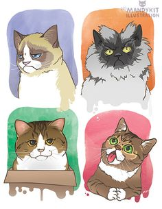 Fab Four Cats art print with Grumpy Cat, Colonel Meow, Maru and Lil Bub