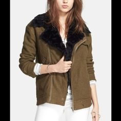 Free People Faux Fur Olive Green Moto Jacket Size: M. Color: Olive. Wool blend. Brand new with tags. Free People Jackets & Coats