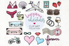 Honeymoon Travel Doodle Clip Art by TWG Designs on @creativemarket