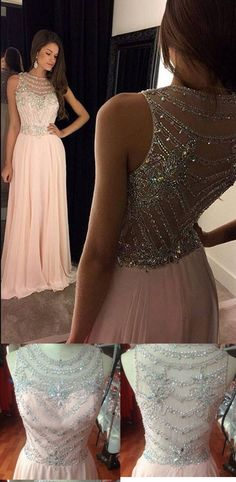 Pink Prom Dress,Beading Homecoming Dress,Prom Dress Beaded,Bateau Neckline Prom Dress,Floor Length Evening Dress,Homecoming Dress Backless,Prom Dress for Woman
